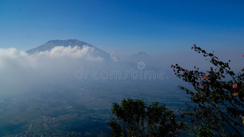 Amazing view on the hill. Beautiful scenery for climbers on Andong Peak in Magelang District, Central Java, Indonesia royalty free stock photo