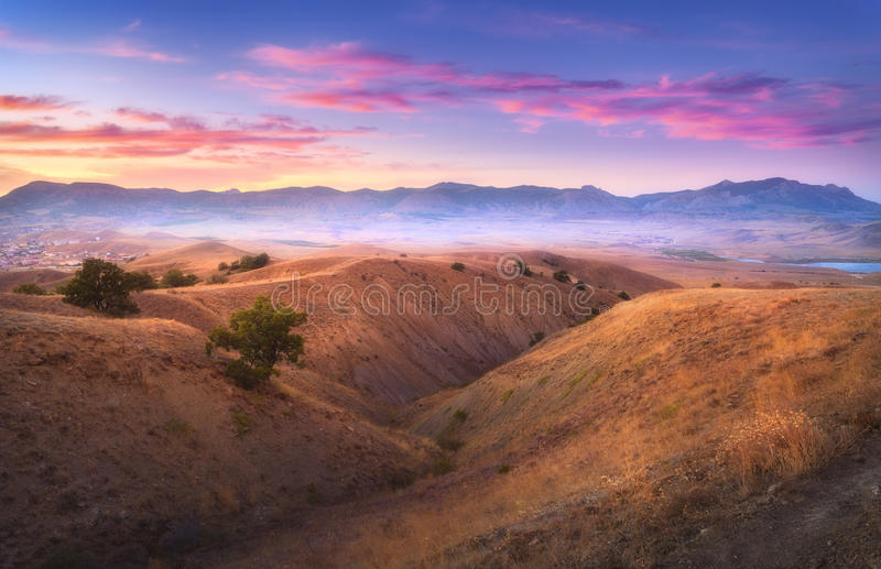 Amazing view from the hill on the mountain valley royalty free stock photo