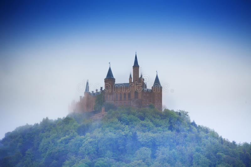 Amazing view of Hohenzollern castle in haze stock image