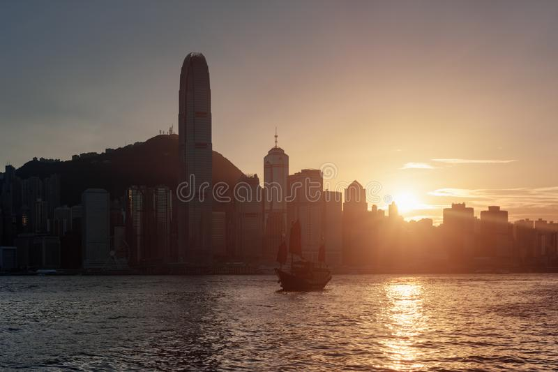 Amazing view of the Hong Kong Island skyline at sunset stock photo
