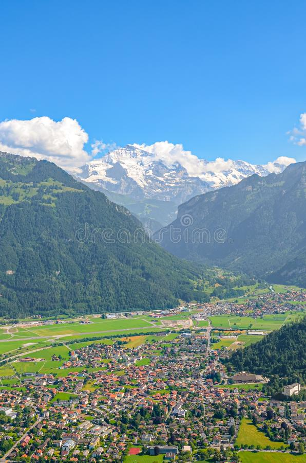 Amazing view of Interlaken and adjacent mountains photographed from the top of Harder Kulm in Switzerland. Swiss Alps landscape. stock photo