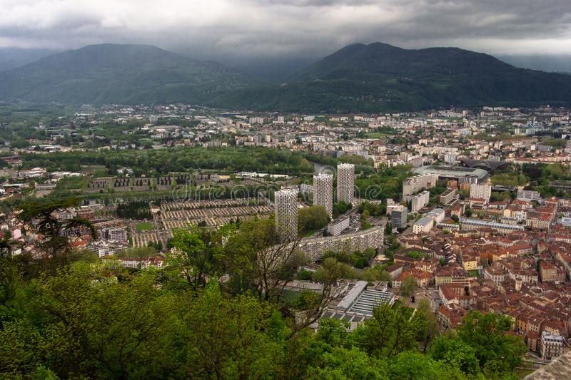 Amazing view with Isere river and buildings architecture. .View royalty free stock photo