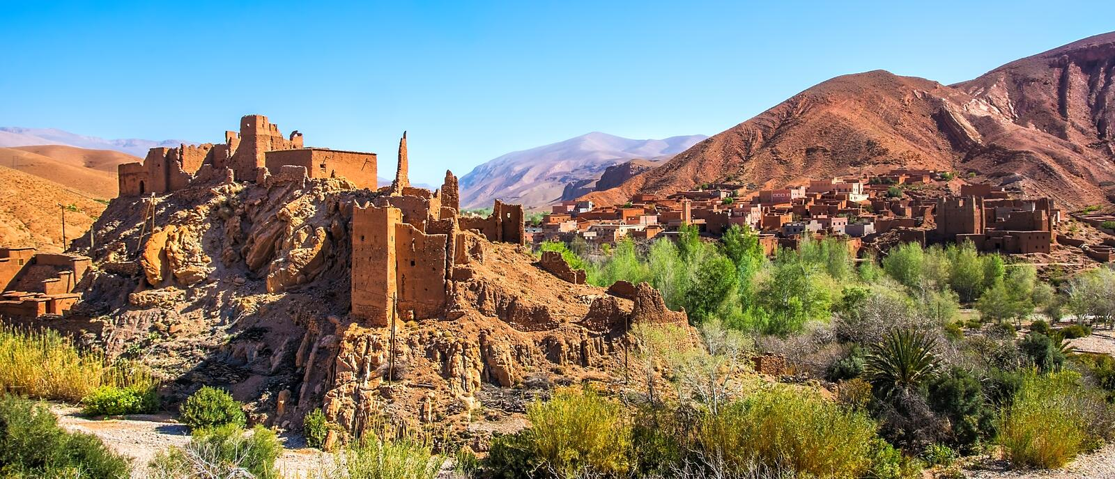 Amazing view of a Kasbah`s ruin on the way to Kasbah Ait Ben Haddou near Ouarzazate in the Atlas Mountains of Morocco. Artistic. Picture. Beauty world stock photo