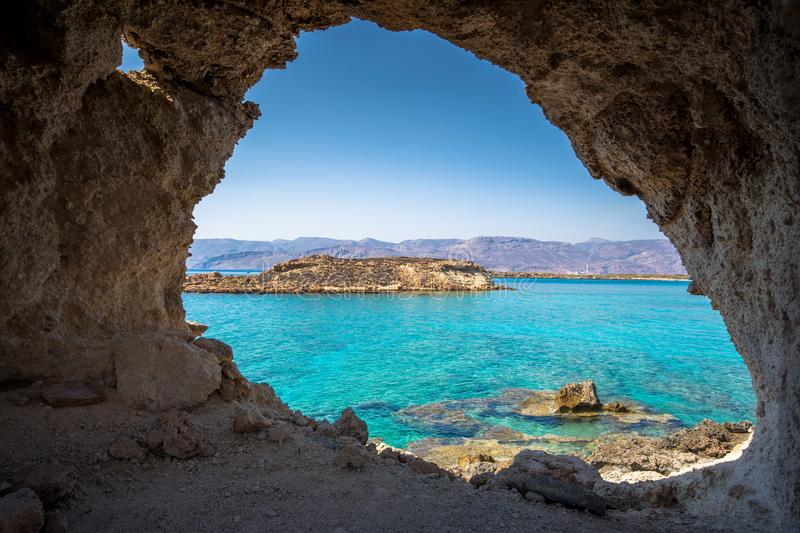 Amazing view of Koufonisi island with magical turquoise waters, lagoons, tropical beaches of pure white sand. Amazing view of Koufonisi island with magical stock images