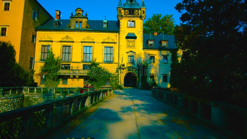 Amazing view of Ksiaz Castle near Walbzych at summer day. Ksiaz Castle is third the biggest castle in Poland and popular tourist.  royalty free stock images