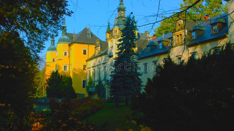 Amazing view of Ksiaz Castle near Walbzych at summer day. Ksiaz Castle is third the biggest castle in Poland and popular tourist.  stock photos