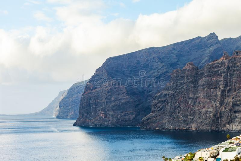 Amazing view of Los Gigantes Cliffs, Tenerife. Nature background stock photo