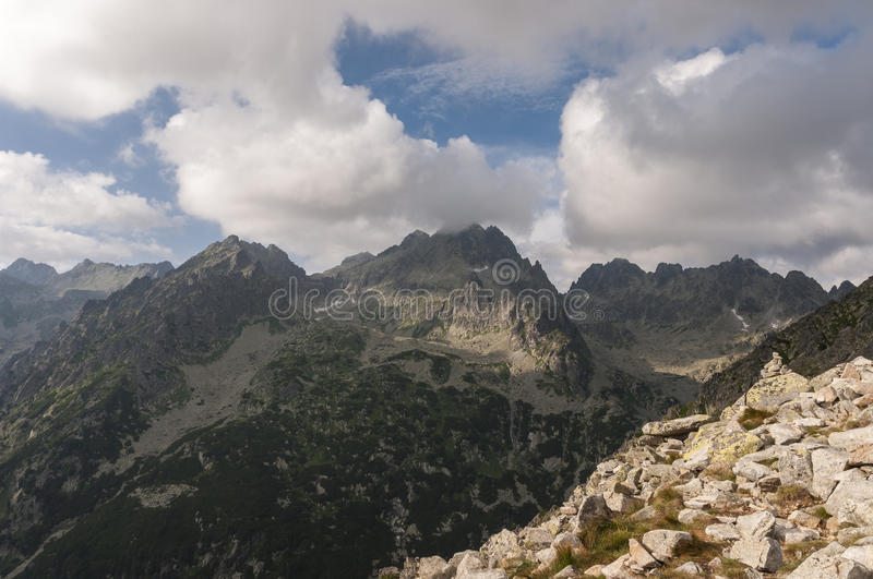 Amazing view of the mountain range under the clouds.  stock image