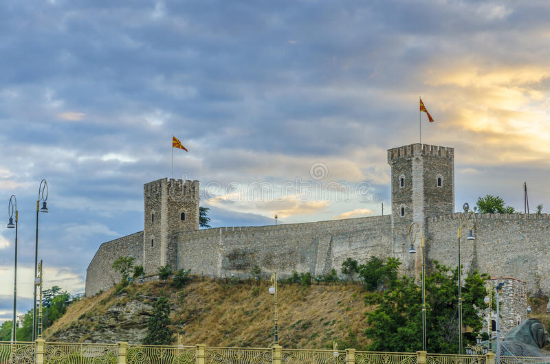 Amazing view of old stone citadel, Skopje, Macedonia. Stone fence on citadel, sunrise and watchtower on one of the Kale fortress in Skopje, Macedonia stock images