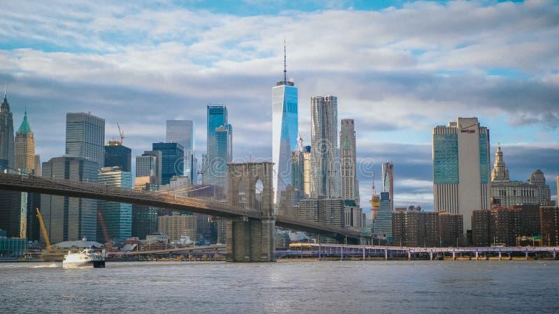 Amazing view over the skyline of Manhattan with Brooklyn Bridge - NEW YORK, USA - DECEMBER 4, 2018 royalty free stock photos