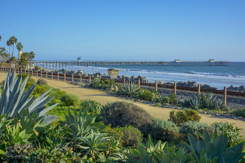 Amazing view of pacific coast railroad pier in Linda lane royalty free stock image