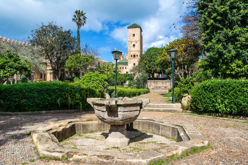 Amazing view of Palace museum tower in the Andalusian Gardens near the ancient Kasbah of the Udayas in Rabat, the capital city of. Morocco. Artistic picture royalty free stock images