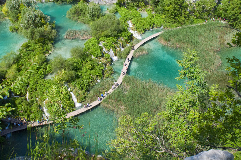 Amazing view of Plitvice lakes - national park of Croatia stock photography