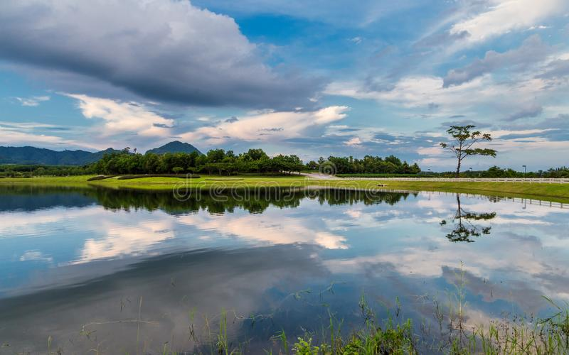 Amazing view of reflection lake in Boonrod farm, Chiangrai, Thailand.  stock photos