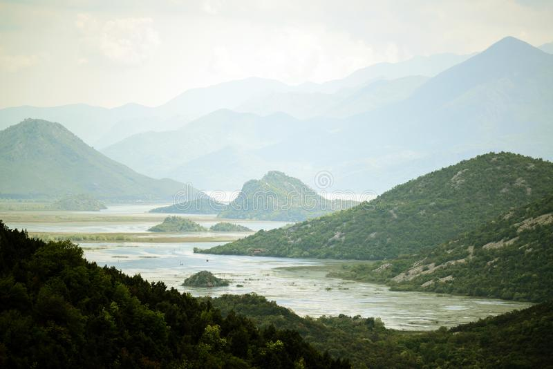 Amazing view of Rijeka Crnojevica - Skadar lake Nationa parkl Montenegro stock photo
