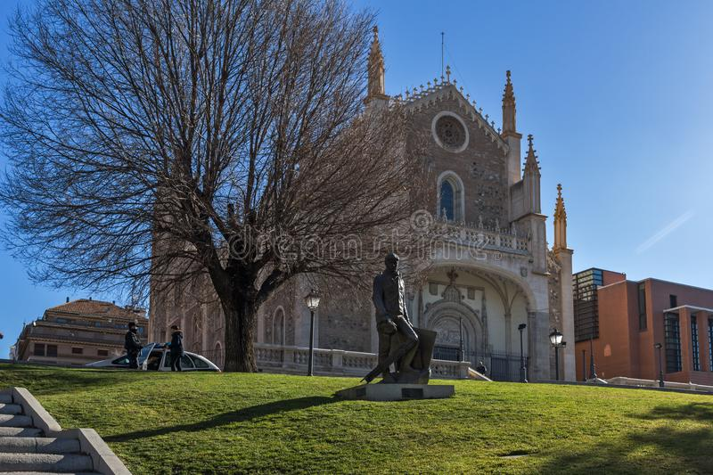 Amazing view of San Jeronimo el Rea church in City of Madrid, Spain. MADRID, SPAIN - JANUARY 22, 2018: Amazing view of San Jeronimo el Rea church in City of royalty free stock photography