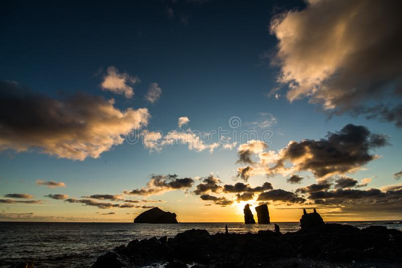 Amazing view of sunset over Mosteiros beach Sao Miguel, Azores Islands royalty free stock photography