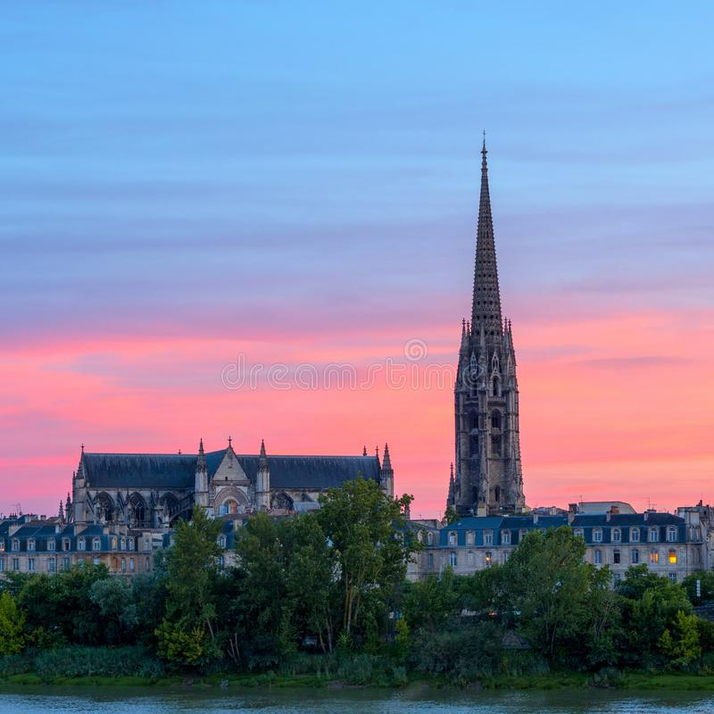 Amazing view to the Basilica of Saint Michel at sunset time, Bordeaux, France. stock photo