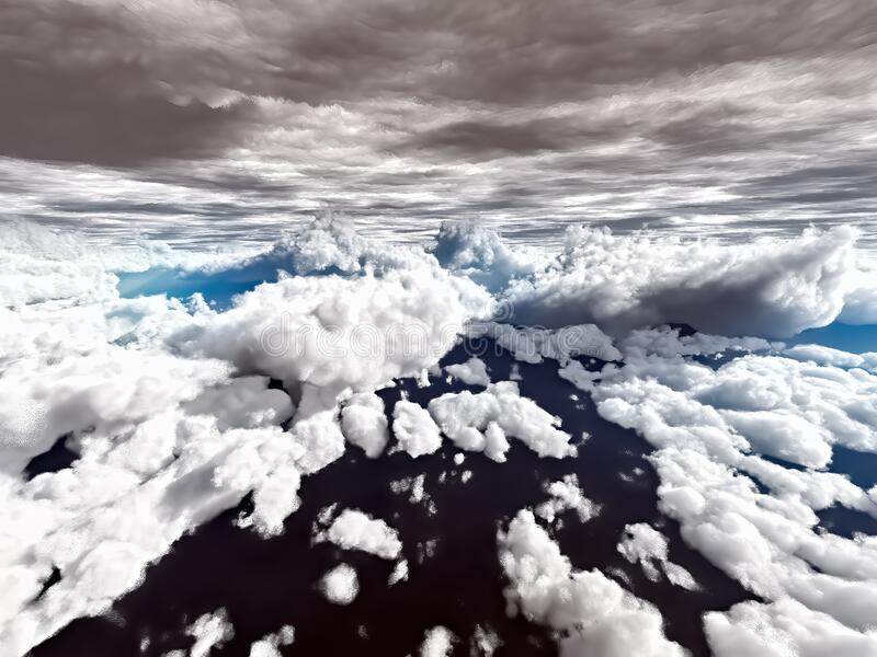 Amazing view to sky above clouds stock photo