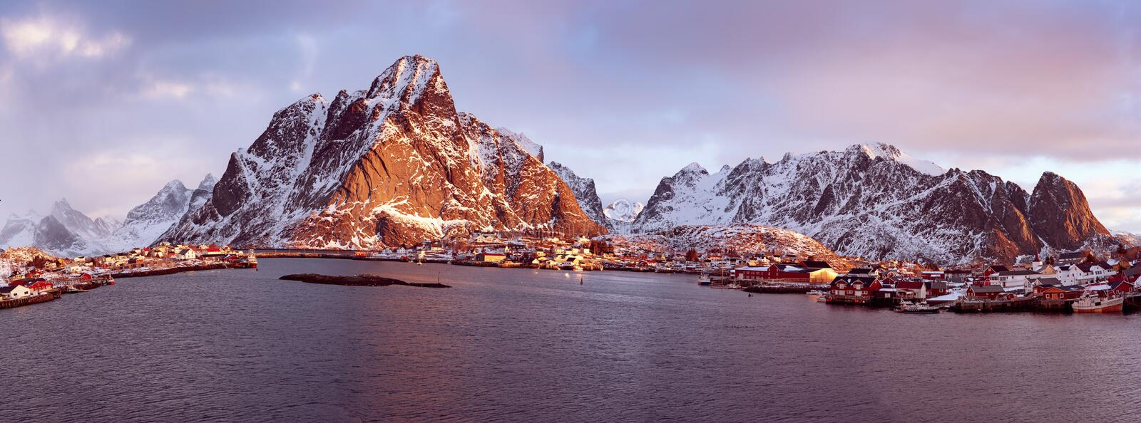 Reine at sunrise royalty free stock images
