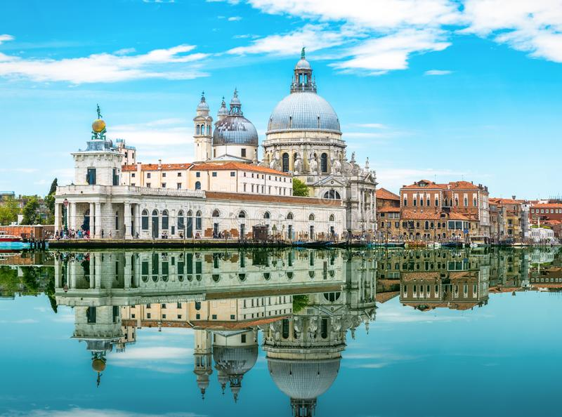 Amazing view of Venice with mirror reflection in water royalty free stock image