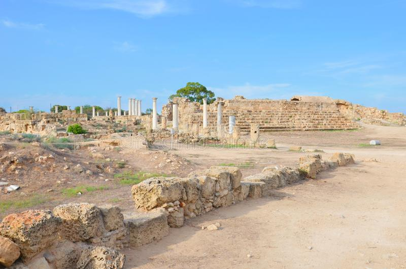 Amazing view of well preserved ruins of ancient city Salamis located near Famagusta, Turkish Northern Cyprus. The Corinthian columns were part of Salamis stock image