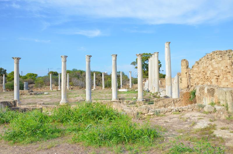 Amazing view of well preserved ruins of ancient Greek city Salamis in Northern Cyprus. The Corinthian columns were part of Salamis. Gymnasium. One of the most stock photography