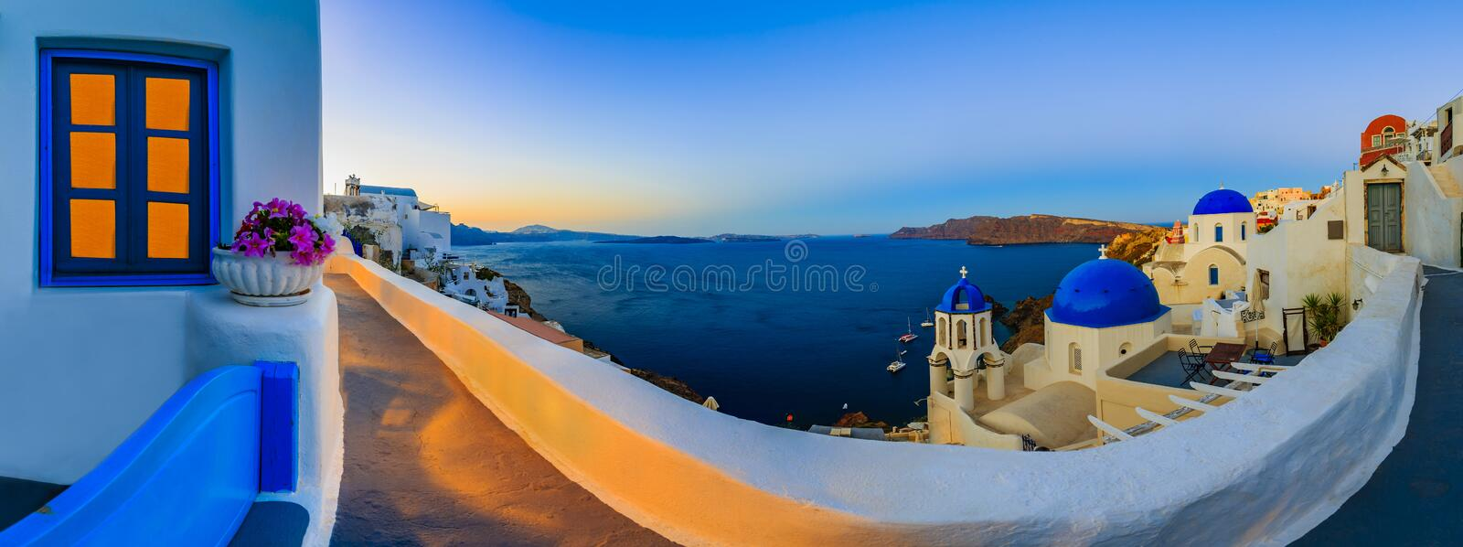 Amazing view with white houses in Oia village. stock photos