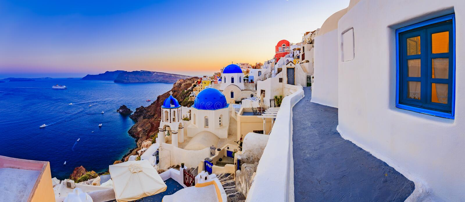 Amazing view with white houses in Oia village. stock photo