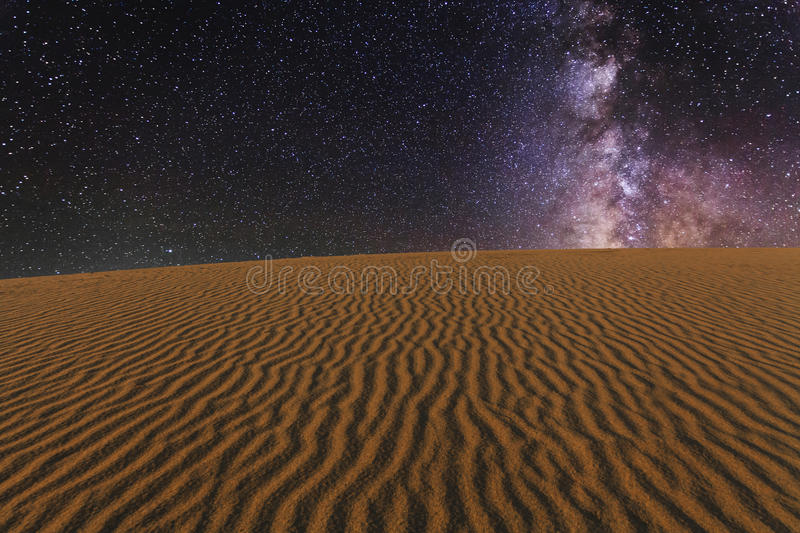 Amazing views of the Gobi desert under the starry sky. stock photography