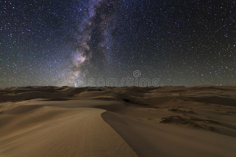 Amazing views of the Gobi desert under the starry sky. royalty free stock image