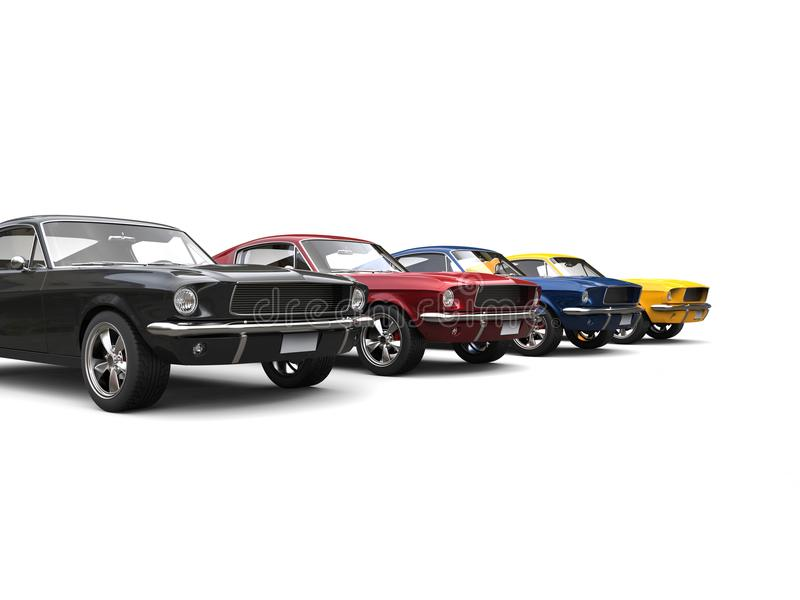 Amazing vintage American muscle cars in cool metallic colors royalty free illustration