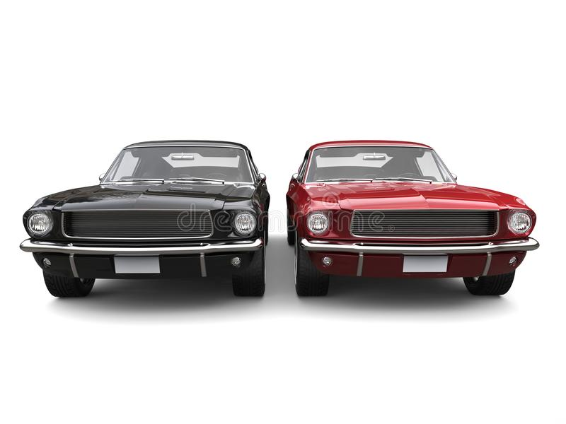 Amazing Vintage American Muscle Cars - Red And Black Stock ...