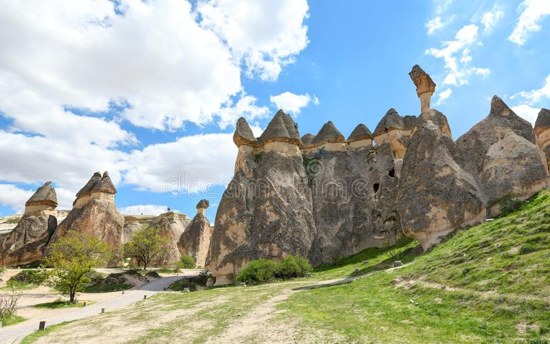 Cappadocia: Amazing natural volcanic rock formations in Monk`s Valley - Turkey stock images