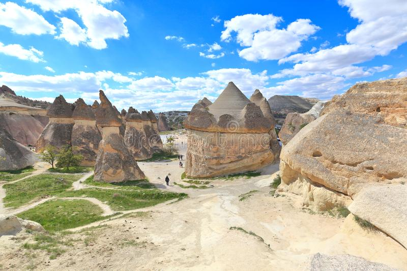 Cappadocia: Amazing natural volcanic rock formations in Monk`s Valley - Turkey. Amazing volcanic formations weathered and eroded into fairy chimneys by natural royalty free stock image