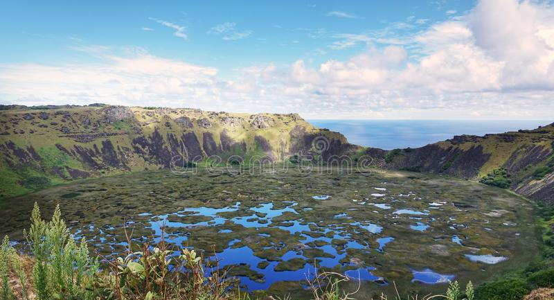 Amazing Volcano in Rapa Nui Island, Chile stock photography