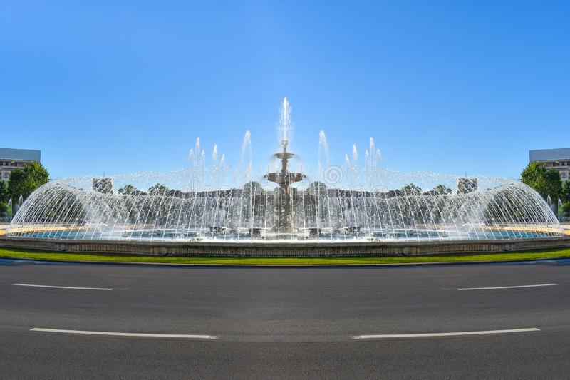 Amazing water fountains in the Downtown of Bucharest City in the Union`s Square or Piata unirii. Amazing water fountains in the Downtown of Bucharest City in the royalty free stock photos