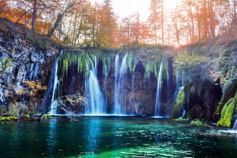 Amazing waterfall with pure blue water in Plitvice lakes royalty free stock images