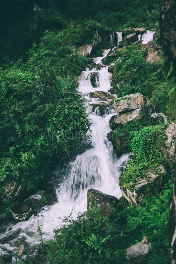 amazing waterfall with rocks and green plants royalty free stock photo