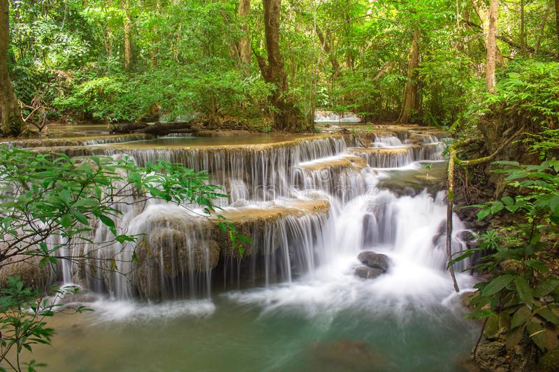 Amazing waterfall in tropical forest of national park, Huay Mae Khamin waterfall, Kanchanaburi Province, Thailand stock photography