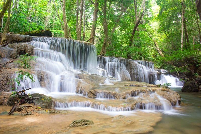Amazing waterfall in tropical forest of national park, Huay Mae Khamin waterfall, Kanchanaburi Province, Thailand royalty free stock photos