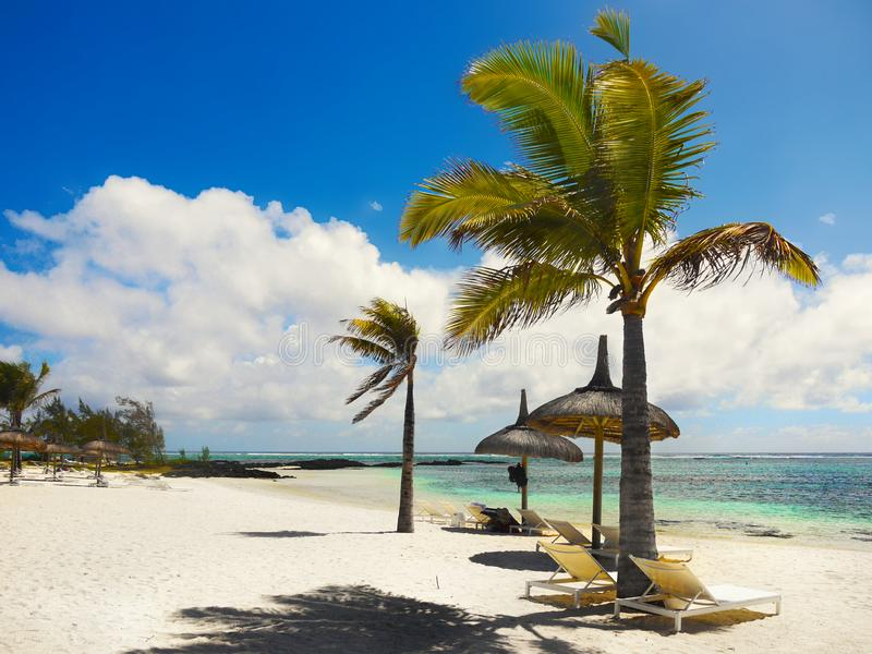 Amazing White Beaches, Tropical Vacation, Mauritius Island royalty free stock images