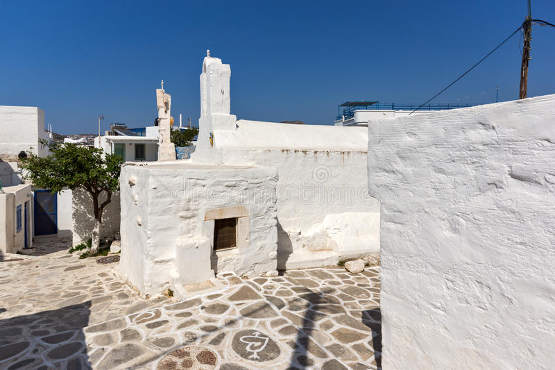 Amazing White chuch and seascape in town of Parakia, Paros island, Greece. Amazing White chuch and seascape in town of Parakia, Paros island, Cyclades, Greece stock photos