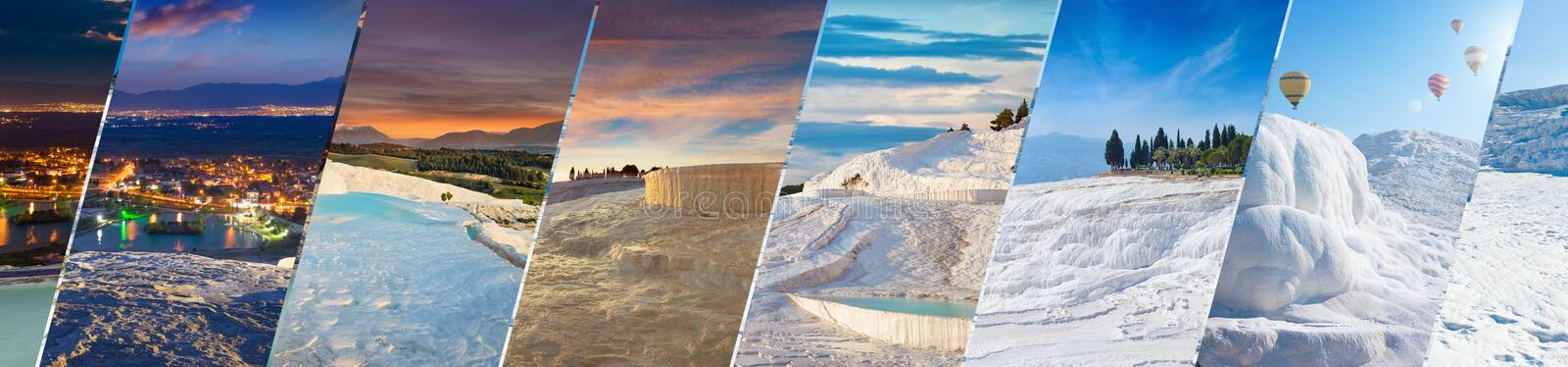 Amazing white travertine in different time of day, geological phenomenon literally. Welcome to Pamukkale panoramic collage. Amazing white travertine in different royalty free stock image