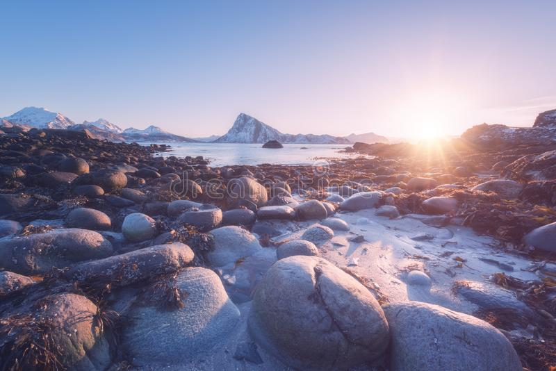 Amazing winter sunset at Lofoten Islands, nature landscape, Napp, Northern Norway. Amazing winter sunset at Lofoten Islands, nature landscape with stones, fjord stock photography