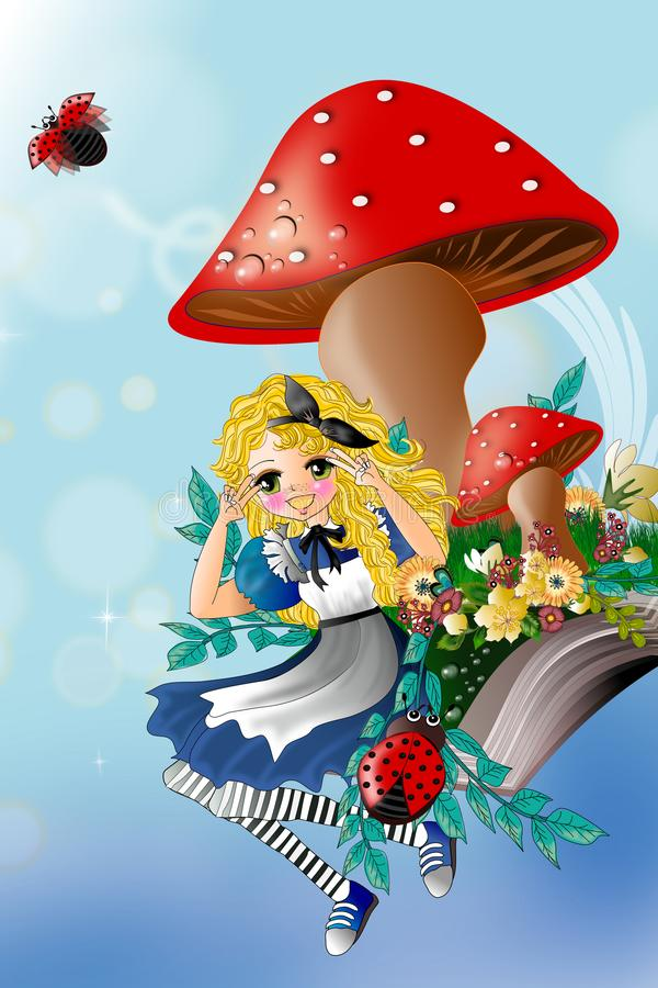 Amazing wonderland. The cute little girl in the amazing wonderland illustration concept for your screen background