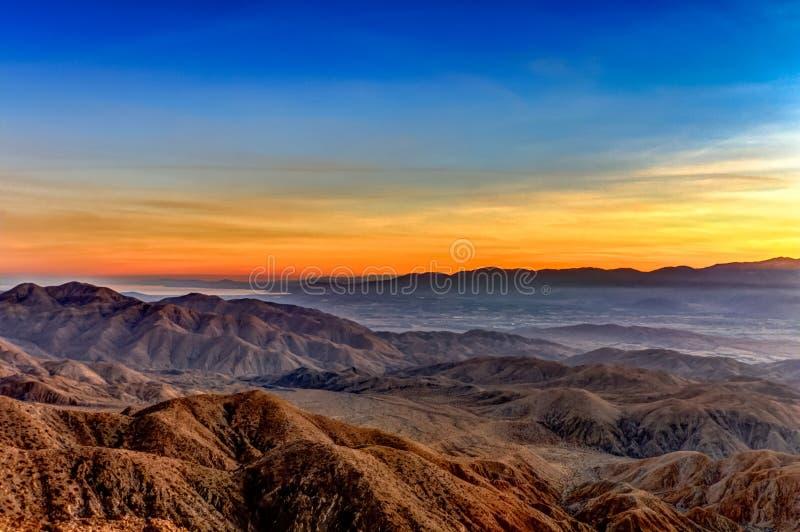 Amazing Yellow Sunset Over the Desert stock photo