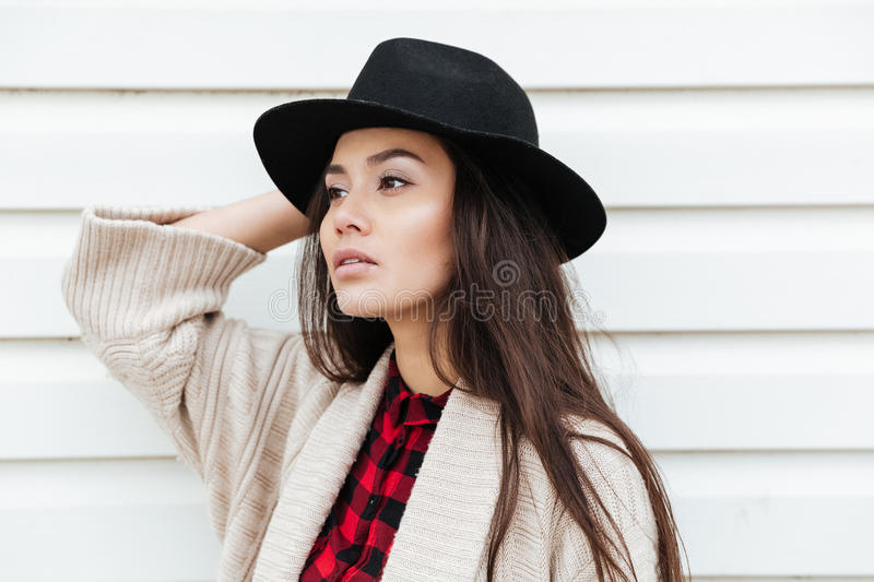 Amazing young caucasian lady walking outdoors at beach stock photos