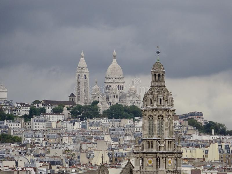 Church Rooftops - Summer in Paris stock images