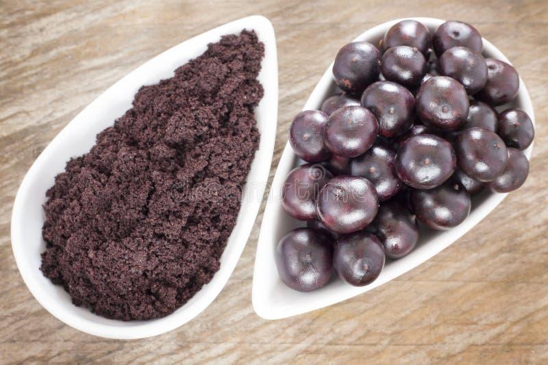 The amazon acai fruit - Euterpe oleracea. The acai is a fruit of characteristic very dark purple color royalty free stock image